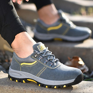 New Fashion Safety Shoes Men Steel Toe Cow Suede Men Work Shoes Breathable Wear-resisting Puncture-proof Safety Boots