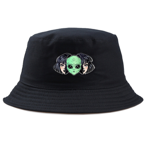 COUPLE alien Panama Bucket Hats Men Women Summer Bucket Cap fashion Print Bob Hat Hip Hop Gorros Fishing Fisherman Hat