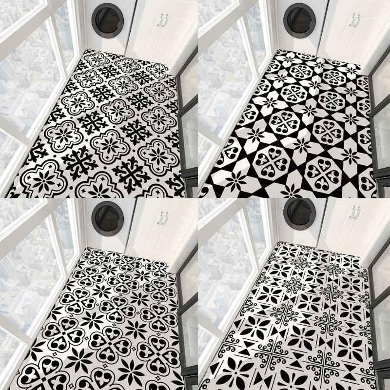 4pcs black white flower pvc ceramic tile sticker anti skid floor paster self adhesive wallpaper living room tv backdrop decor