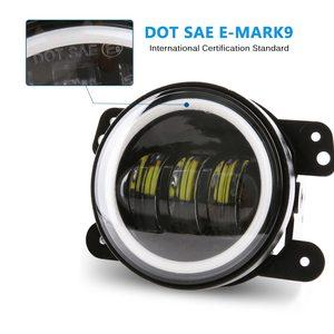 Image 5 - 4 inç yuvarlak Led sis ışık far 30W projektör lens ile Halo DRL lamba Offroad Jeep Wrangler Jk için dodge hummer H1