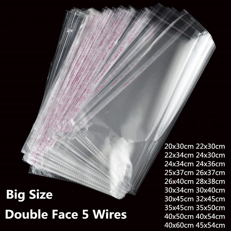 100 Pieces Clear Apparel Bags Self Seal Plastic Bags Wedding Party Opp Gift Bag Adhesive Bags For T-Shirt And Clothes