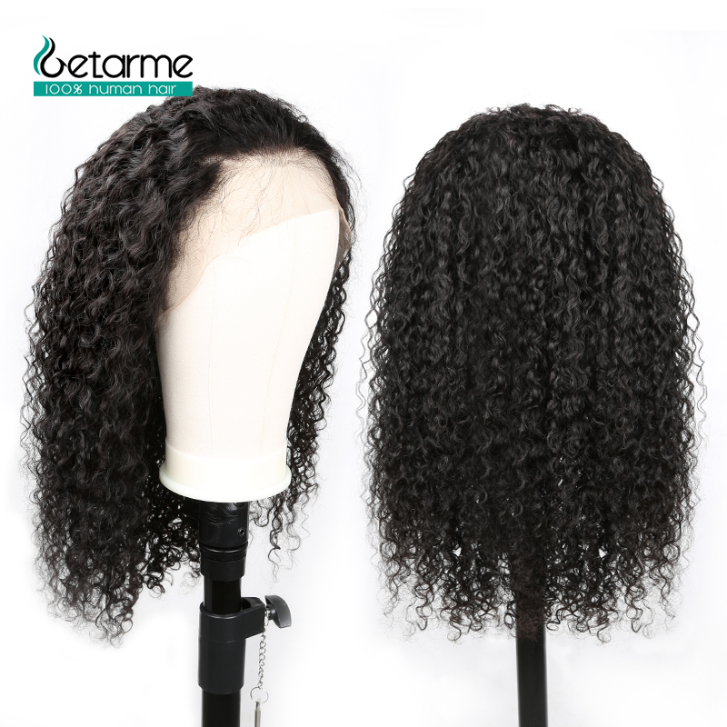 Getarme Pre Plucked Full Lace Human Hair Wigs Brazilian Hair With Baby Hair Kinky Curly Wig Human Hair Non Remy 130% Density