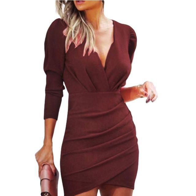 Movokaka Dress Women 2020 Pleated Long Sleeve Dresses For Women Party Sexy V Neck Dresses Woman Nightclub Women's Dress Elegant 2