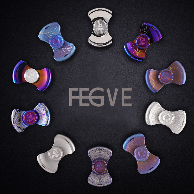 FEGVE Titanium Alloy Roasted Blue Lightning Pattern Spinner Fidget Toys Hand Spinner Metal Fidget Spinner And Adults Toys FG58