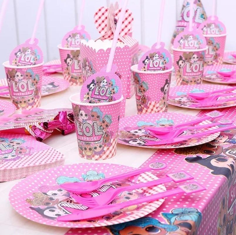 LOL Surprise Dolls Party Theme Set Children's Birthday Festival Venue Atmosphere Decoration Party Supplies Dish Straws Tableware