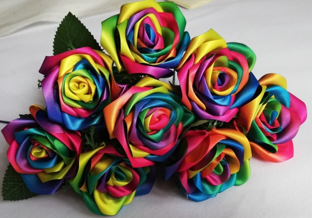 Купить с кэшбэком Rainbow colour rose flowers Handmade silk satin Rose Flowers Wedding Bridal Bouquet Home Decoration  wedding flowers
