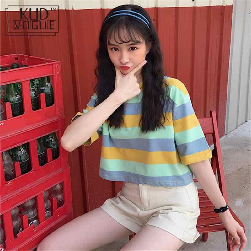 เกาหลีสายรุ้งลายสั้นเสื้อฤดูร้อนผู้หญิงเสื้อ T สั้นแขน O-Neck ลำลองเสื้อยืดหญิง Harajuku LADIES Crop TOP