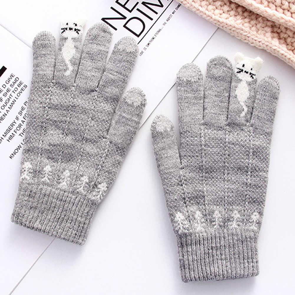 Теплые зимние вязаные перчатки на полный палец, варежки, женские милые Мультяшные Коты, сенсорные перчатки, перчатки гуанты, перчатки