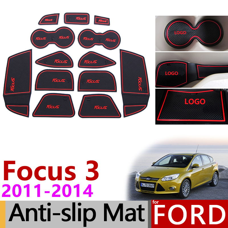 Anti-Slip Gate Slot Mat Rubber Coaster for Ford Focus 3 MK3 2011 2012 2013 2014 pre-facelift ST RS Accessories Car Stickers 13Pc