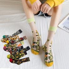 1 paar Japanische Korea Mode Jacquard Frauen Sommer Kühlen Kreative Floral Transparent Silk Trend Druck Ultradünne Glas Silk Socken cheap Filloo Nein CN (Herkunft) COTTON As Shown stockings WOMEN