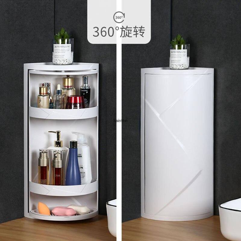 Criativo banheiro prateleira de canto cozinha banheiro rotativo recebendo rack de lavagem mesa triangular acabamento prateleira organizador
