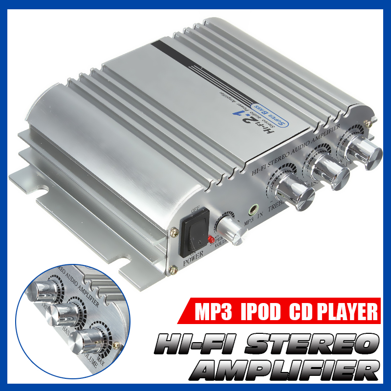 Hi-Fi <font><b>2.1</b></font> <font><b>Amplifier</b></font> 300W 12V Mini Digital <font><b>Amplifier</b></font> Booster Radio Stereo Fit Car Subwoofer Home for Plugging MP3/MP4/CD player image