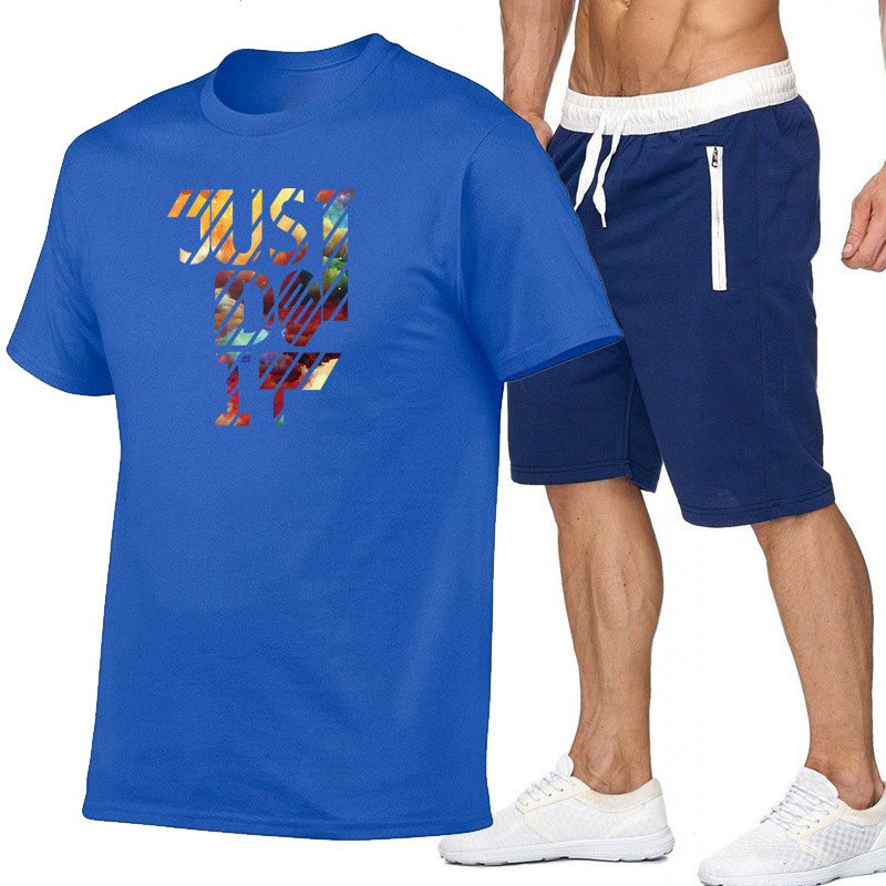 Summer Men And Women Printed Cotton Short-sleeved T-shirt + Zipper Pocket Shorts Leisure Sports Suit