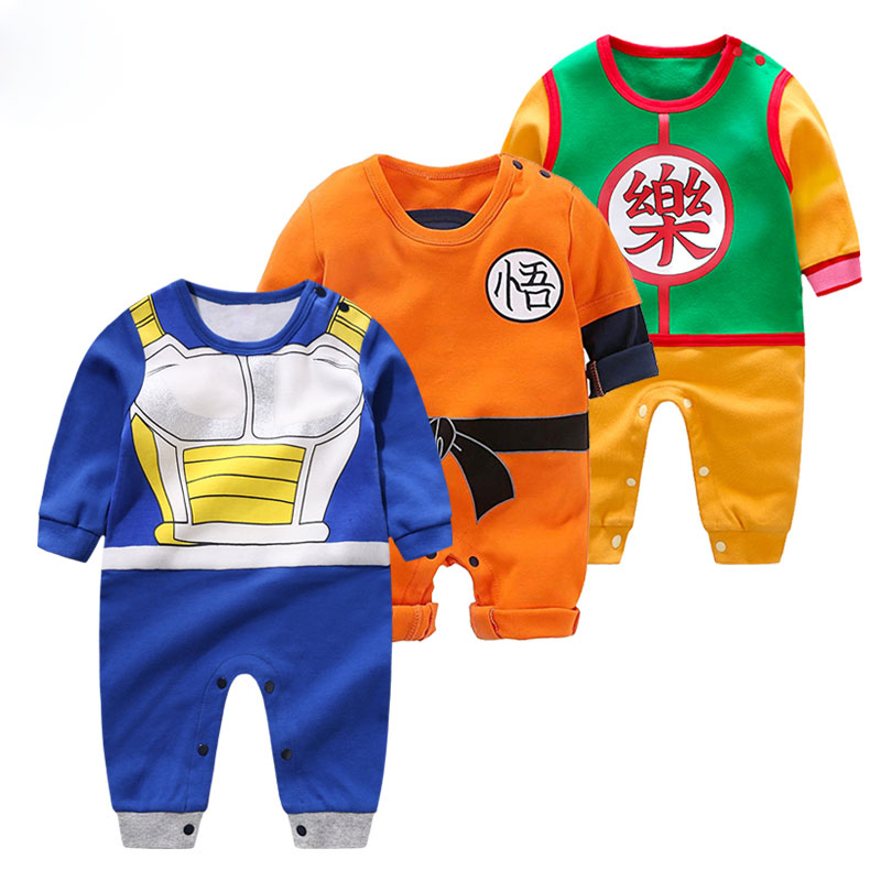High Quality Baby Clothing Baby Cartoon Rompers Dragon Ball Style Long Sleeve Baby Jumpsuits Boy Girl Clothes Baby