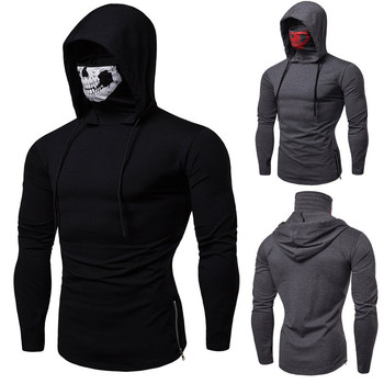 Harajuku Hoodie Men Streetwear Black Assassins Creed Sweatshirt Hip Hop Cosplay Horror Hooded Skull Print Turtleneck Long Sleeve цена 2017