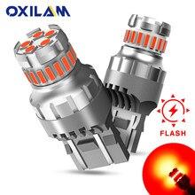 OXILAM 2Pcs 1200LM W21/5W LED Rosso WY21W 3157 P27/7W 7443 HA CONDOTTO la Lampadina per auto del Freno di Arresto Luce Flash Auto Lampada di Coda