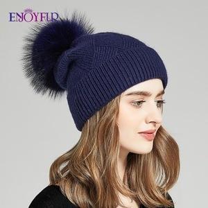 Image 3 - ENJOYFUR Winter Hats For Women Natural Fur Pompom hat Warm Wool Slouchy Beanies For Female Fashion Skullies Lady Hats
