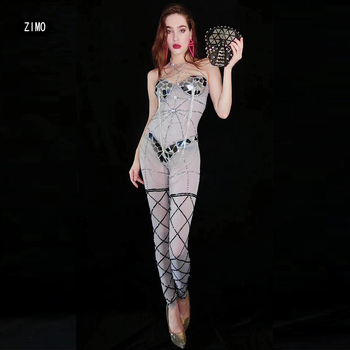 sparkly Rhinestones Jumpsuit Silver Mirror Chain chain belt Tassel Dance Wear Outfit Singer rave sexy carnival costume