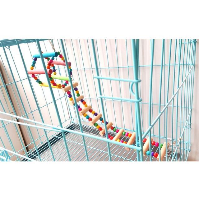 Bird Colorful Wood Swing Climbing Ladder Flexible Rainbow Bridge for Parrot Parakeet Hamster Budgie Cockatiel Cage 2