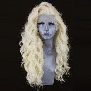 Image 3 - 카리스마 #60 플래티넘 금발 가발 자연 헤어 라인 합성 레이스 프런트 가발 glueless 내열성 레드 가발 여성을위한
