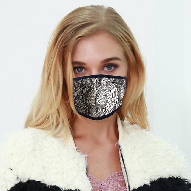 4PC Women Dust Sand Sunscreen Applique Face Cycling Breathable Mask Cotton Dustproof Anime Cartoon Kpop madque lavable#w 2