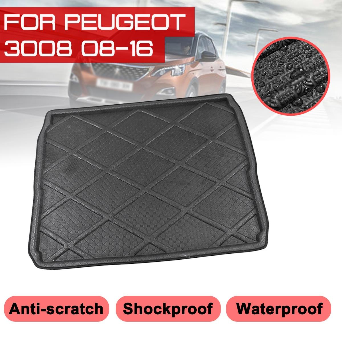 Car Rear Trunk Boot Mat For Peugeot 3008 2008-2016 Waterproof Floor Mats Carpet Anti Mud Tray Cargo Liner