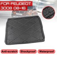 Tylna mata bagażnika samochodu dla Peugeot 3008 2008 2016 wodoodporna podłogowa maty dywan anty błoto taca mata do wyłożenia podłogi bagażnika na