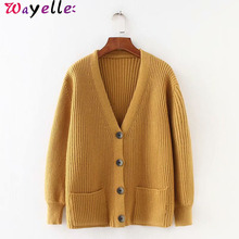 2019 Cardigans Women Sweater Korean V neck Loose Knitted Open Stitch for Long Sleeve Chic Cardigan