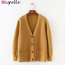 купить 2019 Cardigans Women Sweater Korean V neck Loose Knitted Sweater Open Stitch for Women Long Sleeve Chic Knitted Cardigan Women дешево