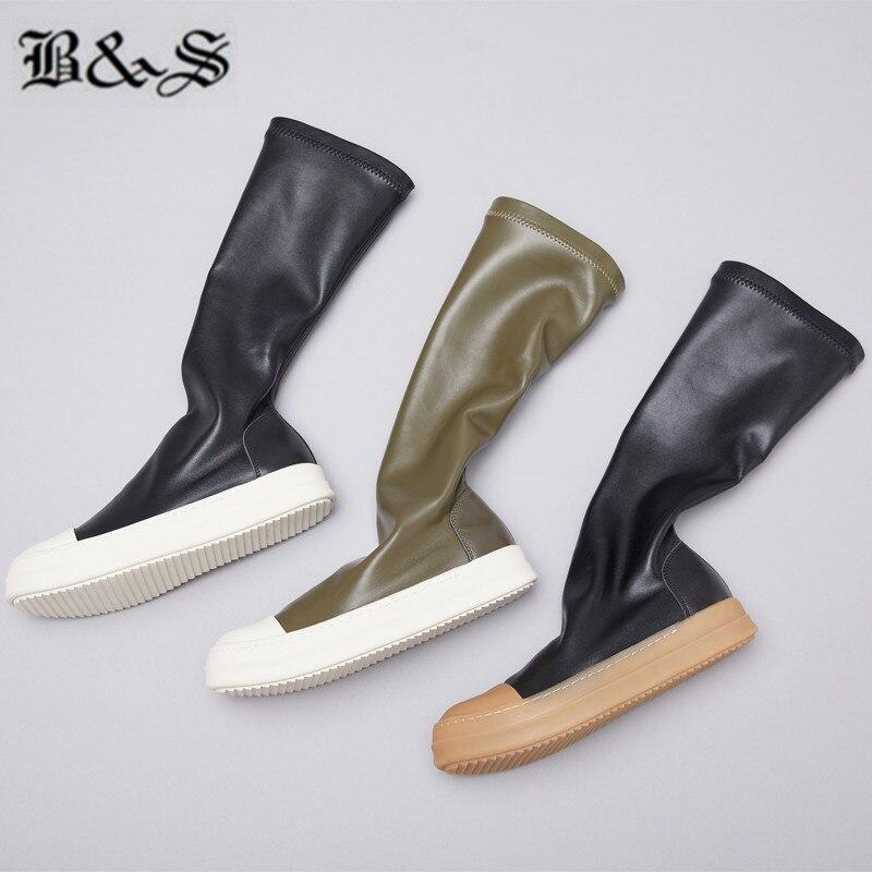 Black & Straat 38cm stretch stof + echt leer platte slip op trainer MID Kalf sok Laarzen nieuwe legergroen kleur hip hop laarzen