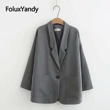 Korean Style Women Blazers Spring Autumn Coats Plus Size Single Button Office Lady Outerwear Black Dark Grey KKFY3921