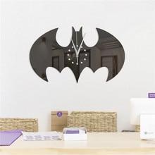 Stickers Wall-Clocks Living-Room Bat-Mirrors Halloween-Decoration Acrylic DIY 3D Creative