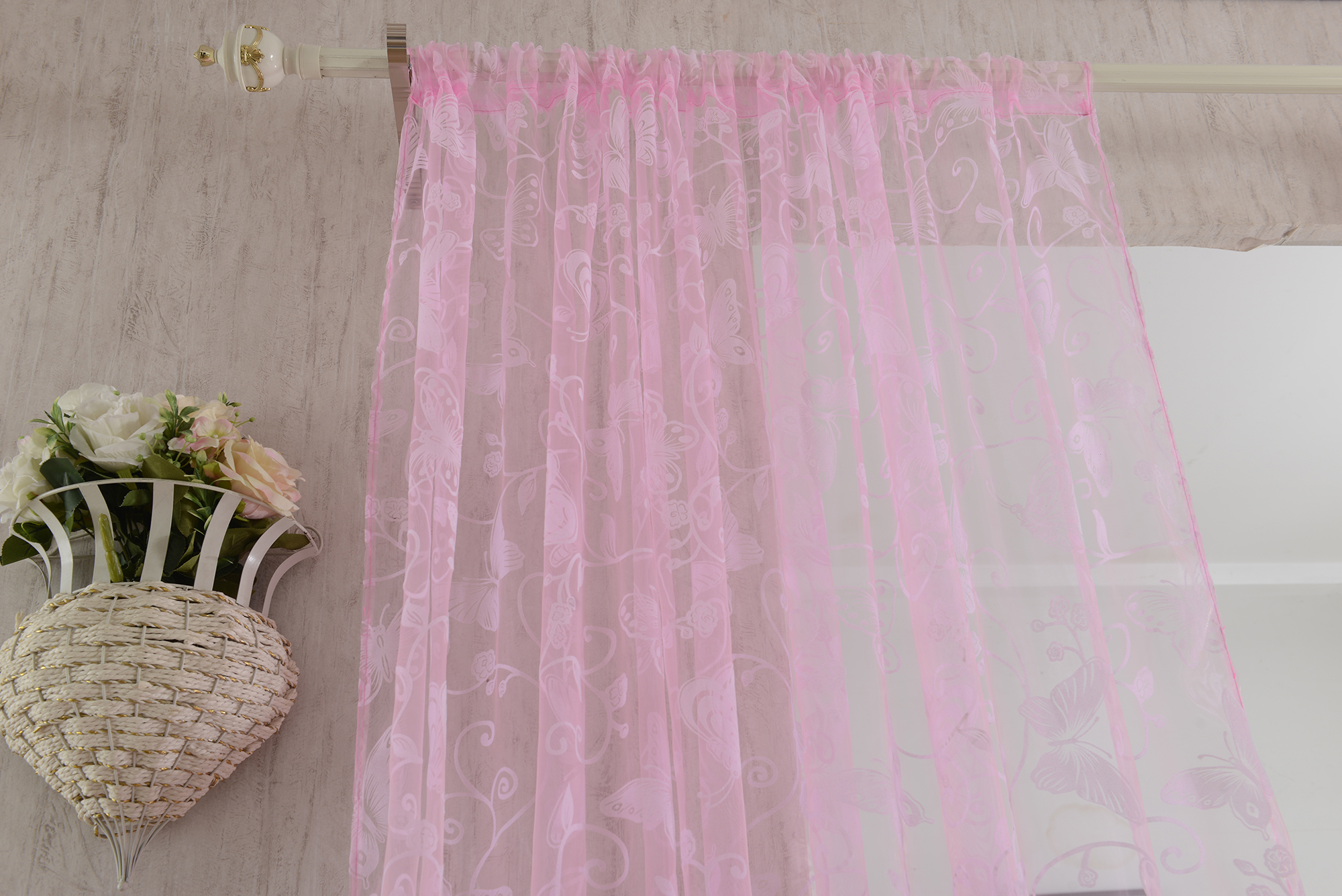 Flocking Butterfly Flowers Sheer Curtain Panel Window Tulle - Pink - 100*200cm