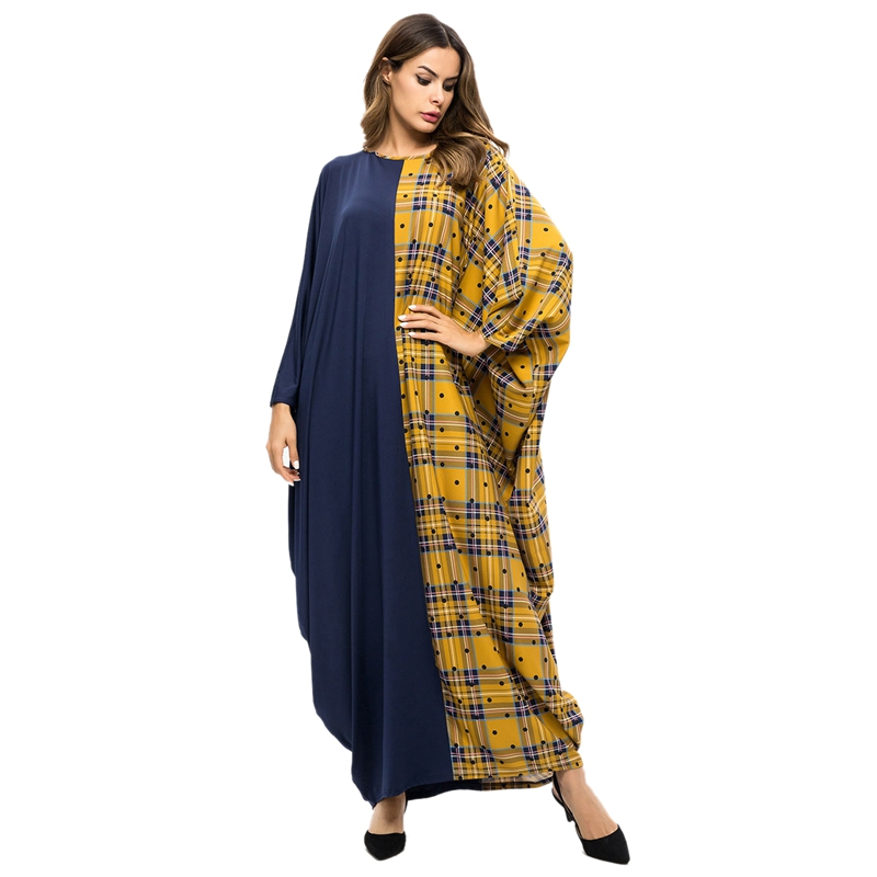 Women Muslim Abaya Dress O Neck Bat-Sleeves Loose Plaid Patchwork Contrast Color Robes Middle East Muslim Ladies Plus Size Maxi