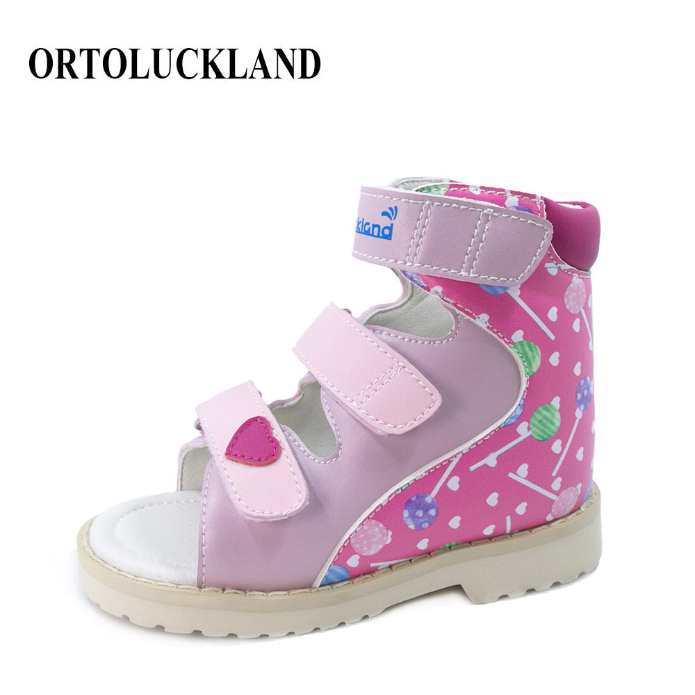 Kids Children Cute Graffiti Corrective Arch Support Orthopedic Leather Sandals Open-toe Shoes For Toddler Boys And Girls