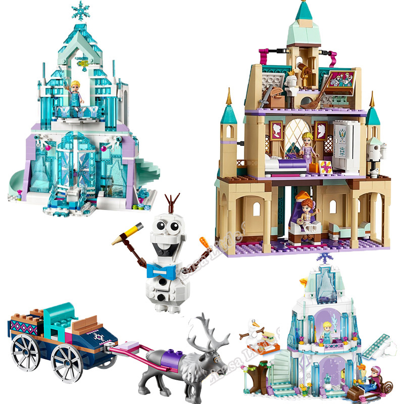 2019 New Elsa Anna Arendelle Castle Village 41167 Cinderella Ice Castle Building Blocks Bricks Legoinglys Girl Friends Toy