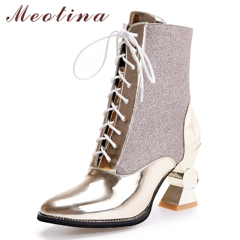 Meotina Winter Ankle Boots Women Patent Leather Super High Heel Short Boots Warm Glitter Round Toe Shoes Ladies Fall Size 33-43