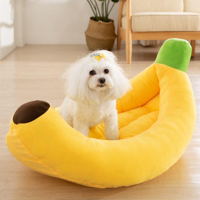 Funny Banana Shape Pet Dog Cat Bed House Plush Soft Cushion Warm Durable Portable Pet Basket Kennel Cats Accessories 1