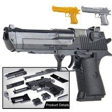 Meninos diy blocos de construção brinquedos puzzle arma desert eagle revolver pode atirar wtih bala pistola plástico modelo para crianças