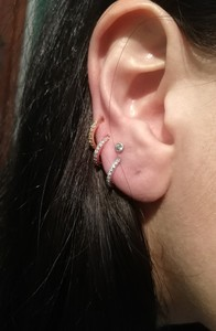 Image 5 - ต่างหูคริสตัลแหวนจมูกหู Tragus กระดูกอ่อน Hoop เหล็ก Rose Gold แหวนหูเล็บบุคลิกภาพเล็กๆวงกลมผู้หญิง