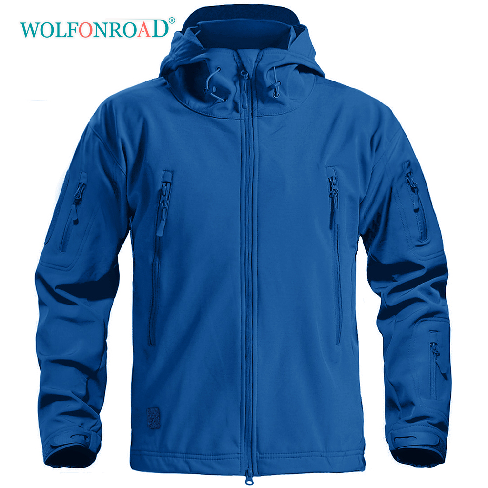 WOLFONROAD Upgrade Waterproof Jacket Men's Outdoor Hiking Camping Fleece Lined Jackets Safari Soft Shell 50D Fabric Coats Man title=