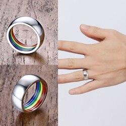 Для мужчин и женщин, радуга, гей кольцо красочный Радужный Флаг ЛГБТ гомосексуальная пара колец из нержавеющей стали, обручальное кольцо, ...