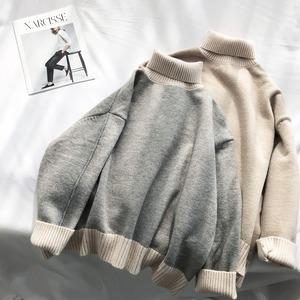 Oversized Turtleneck Sweater Women Loose Pullovers Winter Thick Warm Knit Tops High Neck Color Block Soft Jumper Large Knitwear