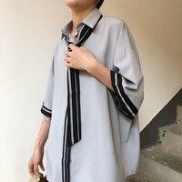 Summer Men Shirts Korean Loose Casual Short Sleeve Shirts Men Tie Shirt Japan Harajuku Shirts Male
