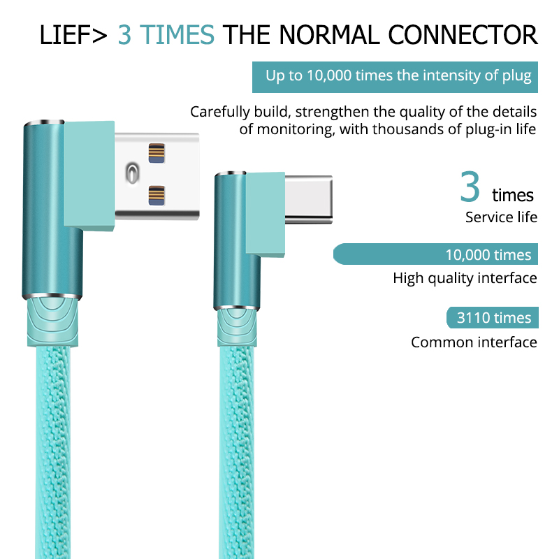 Dual Elbow Type-c Data Cables Fast Charging Mobile Phone Charger For Smartphone Laptop Desktop Computer Wall Charger Data Cord