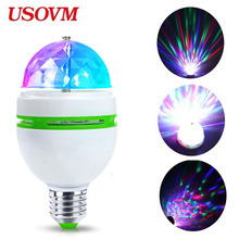 цена на E27 3W LED RGB Stage Night Light 110V 220V 85-265V Christmas Projector Bulb Holiday Amosphere Disco Lights Mini Colorful  Lamp
