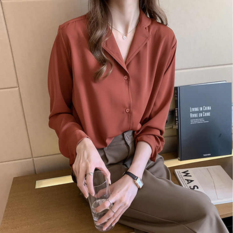Wanita Loong Lengan Kemeja Putih Berlekuk Chiffon Shirt 2019 Baru Korea Temperamen Desain Longgar Wanita Blus Wanita Atasan 7110 50