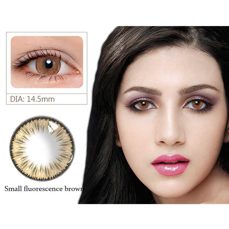 Stopień 0-800 krótkowzroczność soczewki kontaktowe oko piękne soczewki źrenicy kolorowe letnie fluorescencyjne serie DIA 14.5mm na kosmetyki imprezowe