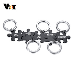 Vnox Free Custom Engrave Words Letters Puzzle Key Chains for Men Women,Solid Stainless Steel Metal BFF Gifts Accessory