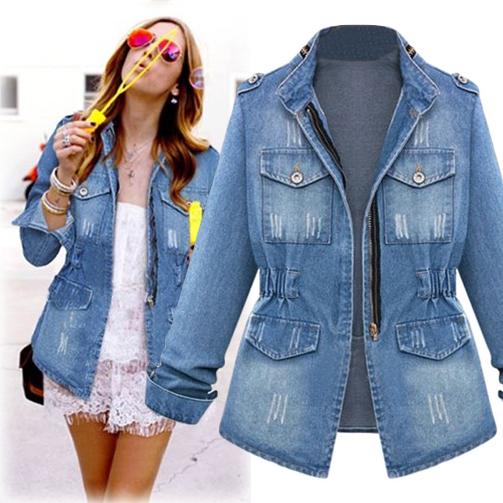 Female Jackets Jeans Spring Women Clothing Zipper Autumn Casual Fashion New Slim title=